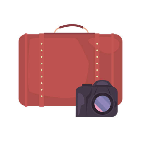 summer time holiday suitcase and camera vector illustration Illustration