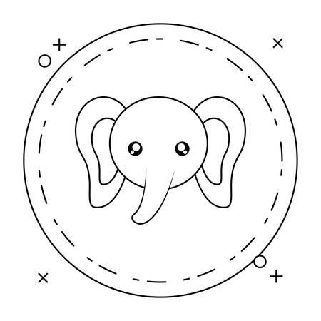 head of cute little elephant baby in frame circular vector illustration design