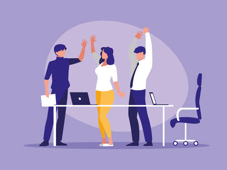 business people celebrating in the workplace vector illustration design