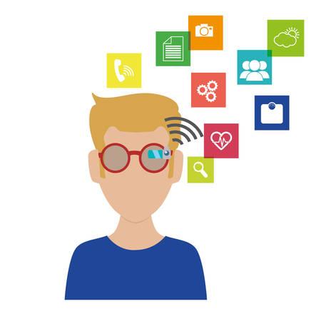 man with smart glasses and apps menu vector illustration design