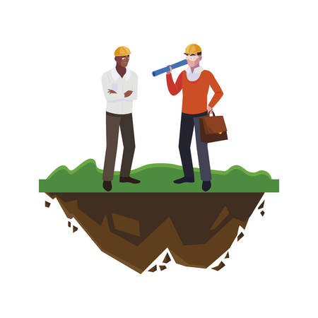 afro male builder with architect on the lawn vector illustration design
