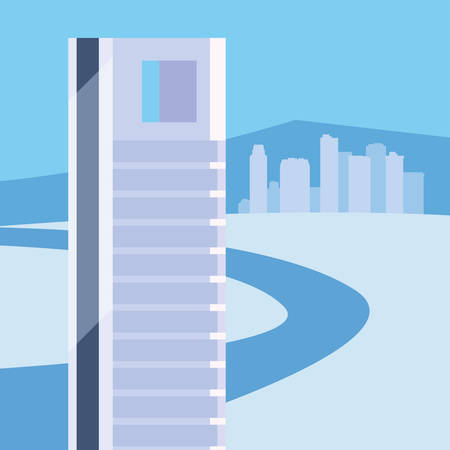 blue city skyline urban buildings city road vector illustration 向量圖像