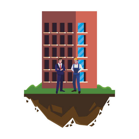 builder constructor with engineer and building vector illustration design Ilustracja