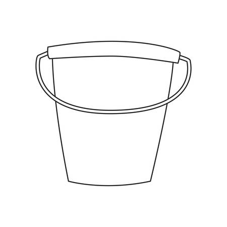 bucket cleaning supply on white background vector illustration outline