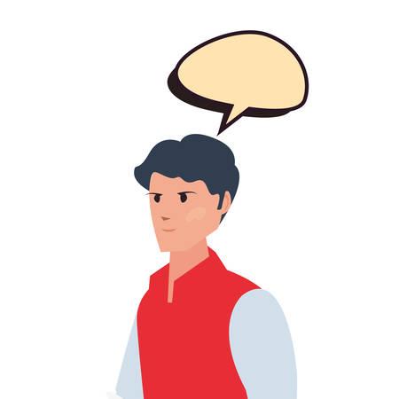 delivery man employee talk bubble vector illustration Ilustração