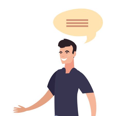 man character male talk bubble vector illustration