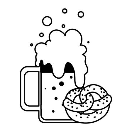 silhouette of mug with beer and pretzel in white background vector illustration design Ilustrace