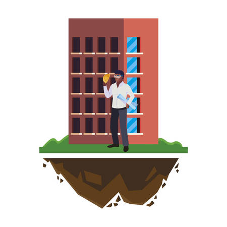 afro male builder constructor worker with building vector illustration design