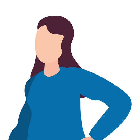 woman happy young character on white background vector illustration