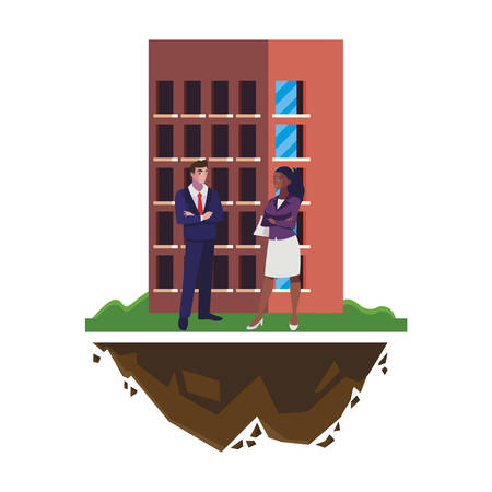interracial business couple with building vector illustration design
