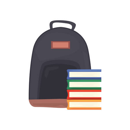 backpack book stacked back to school vector illustration