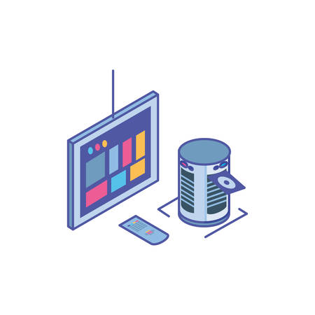 tv screen with remote control and server equipment vector illustration design
