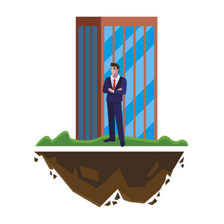 elegant businessman with building character vector illustration design