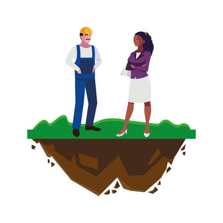 male builder constructor with afro woman engineer vector illustration design