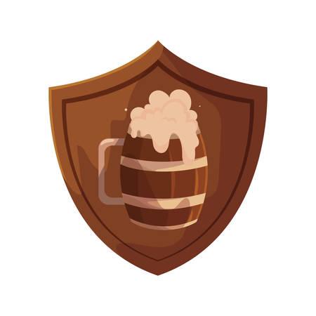 wooden beer mug with shield in white background vector illustration design 向量圖像