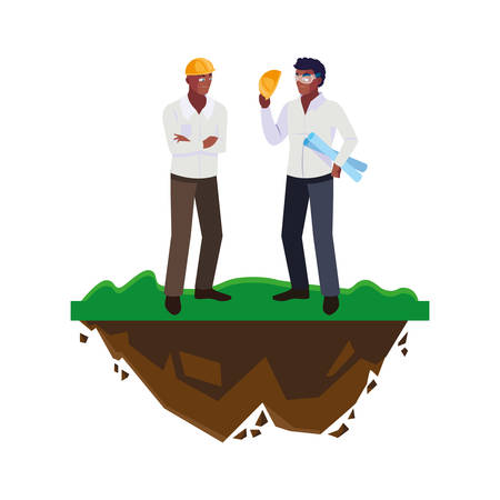 afro male builders constructors workers on the lawn vector illustration design