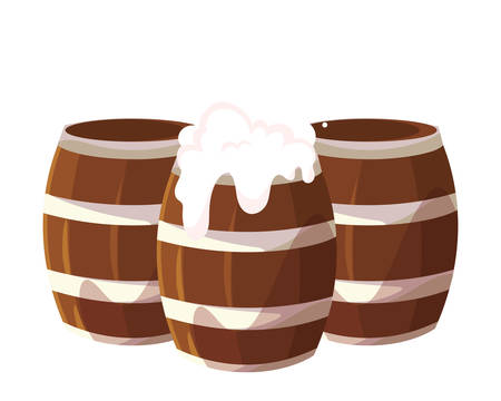 wooden beer mug in white background vector illustration design 向量圖像