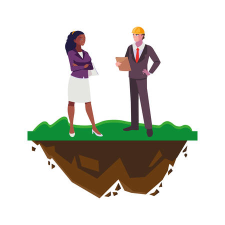 interracial couple of engineers builders on the lawn vector illustration design