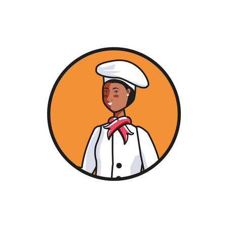 female chef worker avatar character vector illustration design