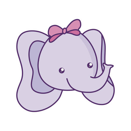 head of cute little elephant baby character vector illustration design 일러스트