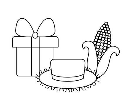 hat wicker with gift box and cob vector illustration design Ilustracja