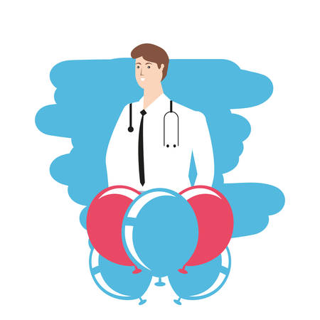 medical doctor with balloons helium labor day celebration vector illustration design