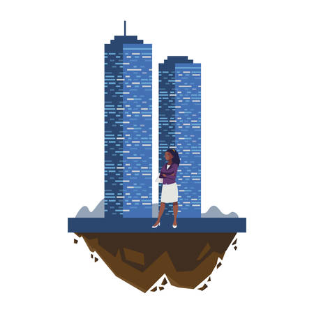 afro businesswoman with building character vector illustration design
