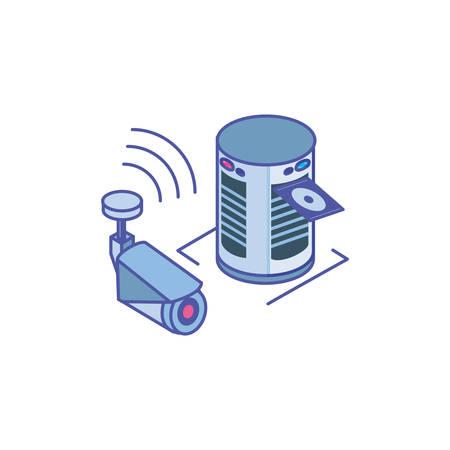 surveillance camera with server equipment vector illustration design Illusztráció