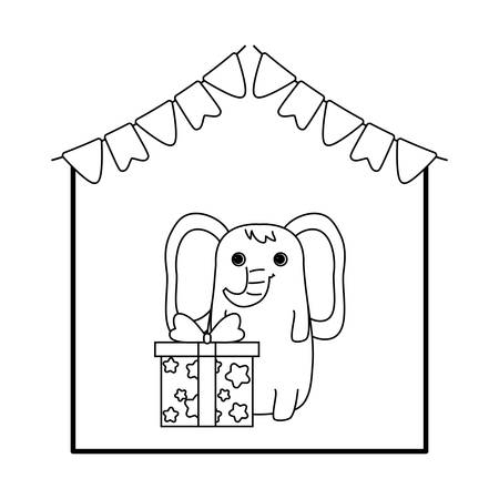 cute elephant with gift box and garlands hanging vector illustration design