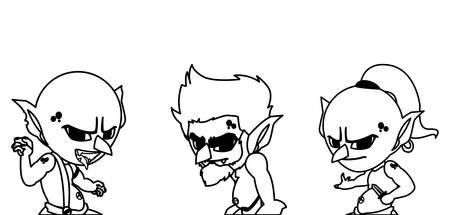 ugly trolls magic characters vector illustration design