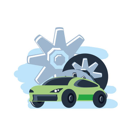 car sedan transportation with gears pinions vector illustration design 向量圖像
