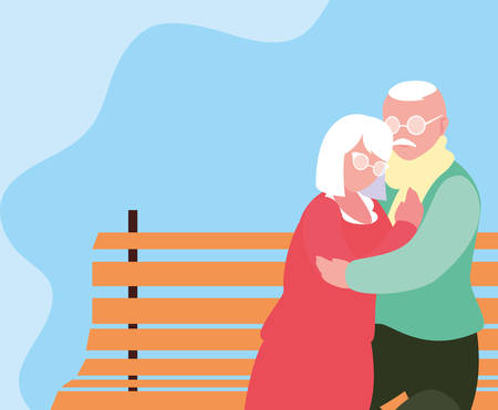 cute old couple seated in chair of park vector illustration design Фото со стока - 135366934