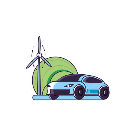 car sedan transportation with windmill air power vector illustration design 向量圖像