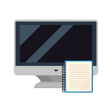 computer and notebook back to school vector illustration