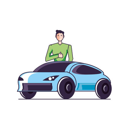 car sedan transportation with young man vector illustration design 向量圖像