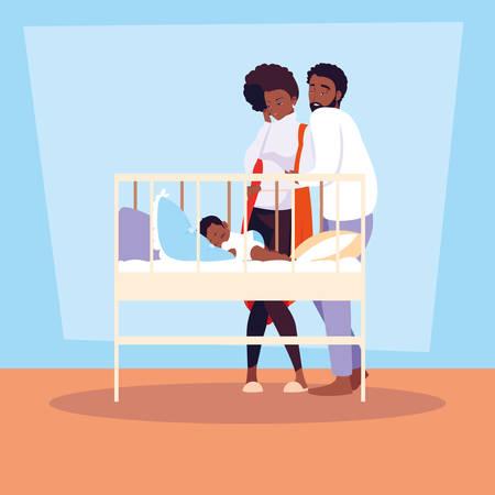 parents afro observing of baby boy sleeping vector illustration design