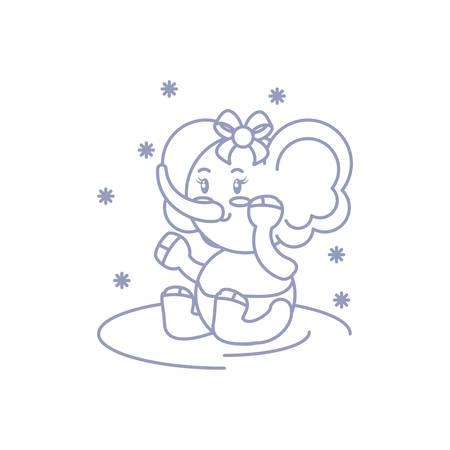 cute female elephant baby animal vector illustration design 일러스트