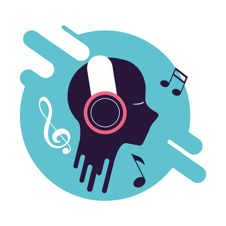 banner and silhouette person with headphone device vector illustration design Ilustrace