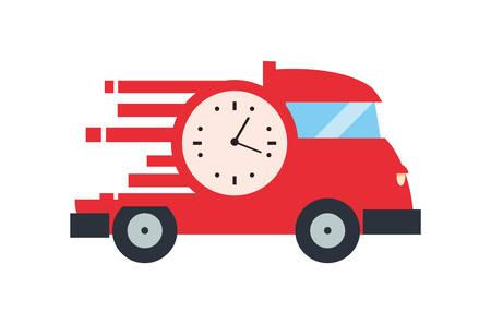 fast delivery truck transport clock vector illustration Çizim