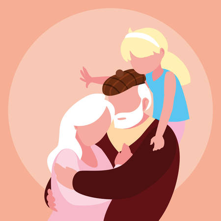 cute old couple hugged with granddaughter vector illustration design Фото со стока - 135390874