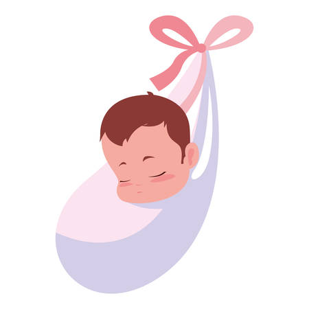 cute baby wrapped in blanket vector illustration