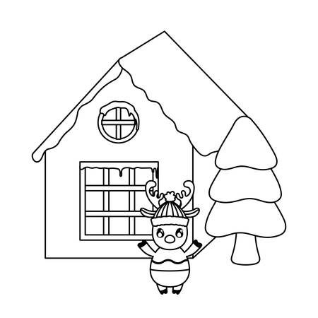 cute reindeer with house and christmas trees on white background vector illustration design