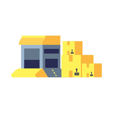 warehouse building with boxes carton vector illustration design Ilustracja
