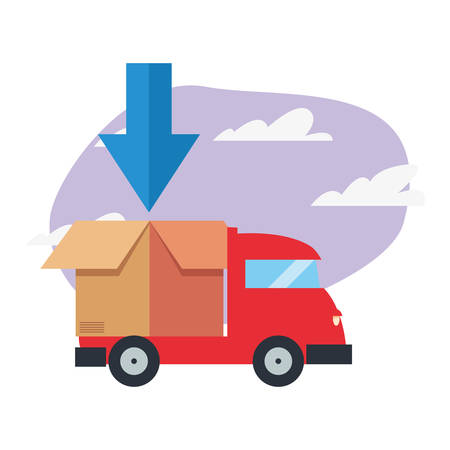truck cardboard boxes fast delivery logistic vector illustration