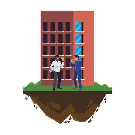 afro male builder with engineer and building vector illustration design Ilustração