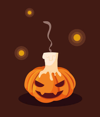 halloween pumpkin with candle decoration vector illustration design Reklamní fotografie - 135415481