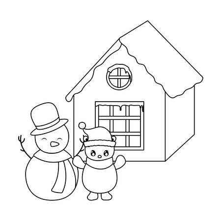 snowman and with family house of background 일러스트