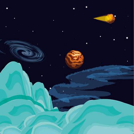 mercury planet scene space vector illustration design