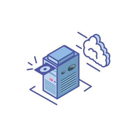 server equipment with with cloud information vector illustration design