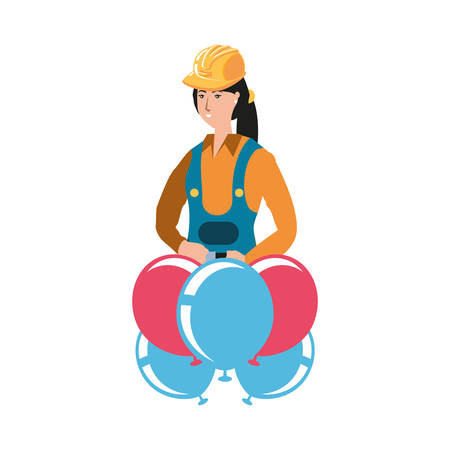 female builder with balloons helium labor day celebration vector illustration design Vectores